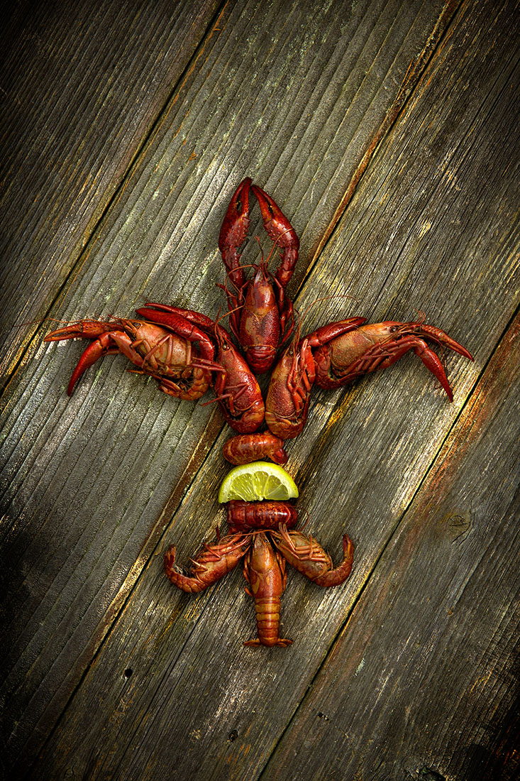 Louisiana Crawfish Art Fleur-de-lis
